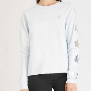 Good American White Silver Star Long Sleeved Tee